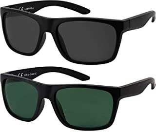 La Optica B.L.M. - La Optica Gafas de Sol LO8 UV400 Deportivas da Hombre y Mujer, Mate Negro (Lentes: 1 x Gris, 1 x Verde)
