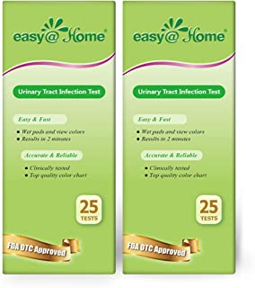 Easy@Home 50 Tests (25/Bottle) Urinary Tract FSA Eligible Infection UTI Test Strips, Monitor Bladder Urinary Tract Issue Testing Urine-FDA Approved for Over the Counter (OTC) USE, Urinalysis (UTI-50P)