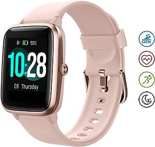 HAFURY Smartwatch, Reloj Inteligentecon Impermeable IP68 con Pulsómetro Cronómetros, Calorías Monitor de Sueño Podómetro Pulsera Pulsómetros Hombre y Mujer Reloj Deportivo para Android iOS, Rosado
