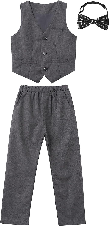 Choomomo Kids Boys Gentleman Outfits Tuxedo Suit Button Down Vest & Pants & Bow Tie 3PCS Sets for Wedding