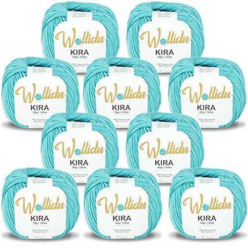Wollidu Kira 100% algodón para punto y ganchillo, 10 ovillos de 50 g, hilo de ganchillo, color turquesa