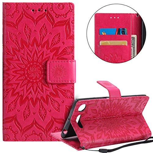 Coque Sony Xperia XZ1,Etui Sony Xperia XZ1,Surakey Housse en PU Cuir Premium Flip Case Portefeuille Etui Coque pour Sony Xperia XZ1, Neuf Design Rétro Henna Mandala Ultra Slim à Rabat Flip Cover Book