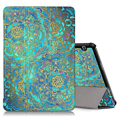 ZhuoFan Huawei Mediapad T5 10 Hülle, Schlanke Leicht Hülle Tasche Ständer Schutzhülle mit Muster Motive Cover für Huawei T5 10,1 Zoll Tablet, Grüne Blumen