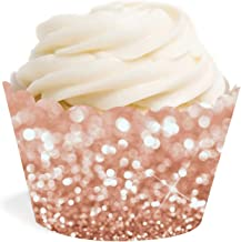Andaz Press Glitzy Faux Rose Gold Glitter Cupcake Wrapper Decorations, 24-Pack,Not Real Glitter, Cake Dessert Party Decor
