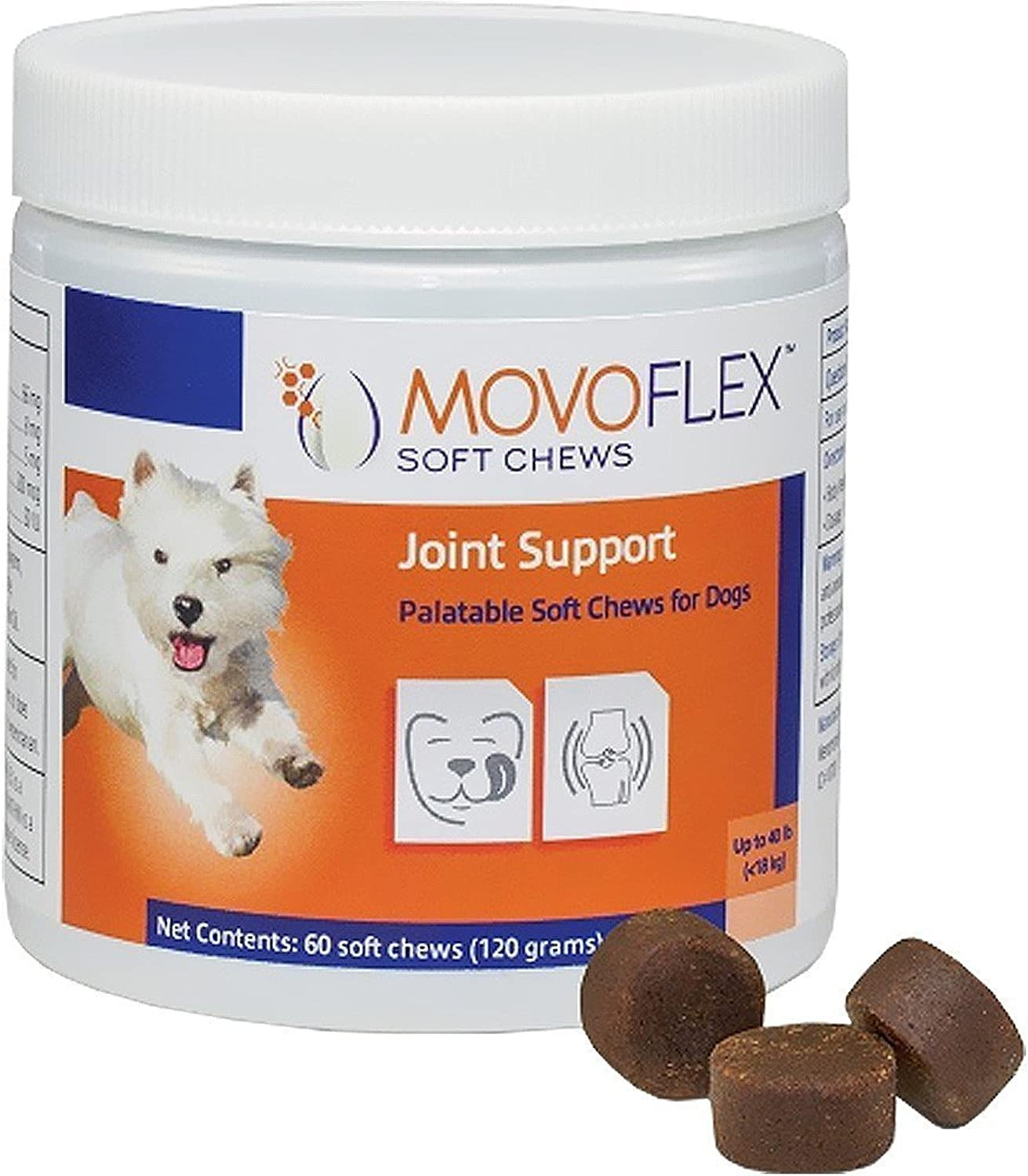 MoVo Flex Joint Support Chew for Small Dogs Glutin Free One Chew A Day Help Hip Dyplasia *Discomfortort 60 Soft Chew Treats