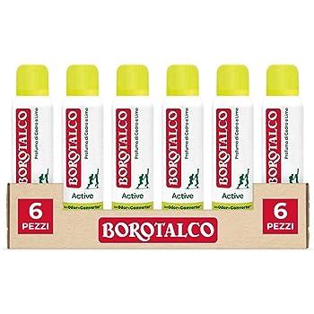 Borotalco, Deodorante Spray Active con Odor Converter, Più Sudi e Più Si Attiva, Profumo di Cedro e Lime, Giallo - 6 Flaconi da 150 ml