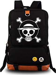 Gumstyle Anime One Piece Luminous Large Capacity School Bag Cosplay Backpack Black and Blue
