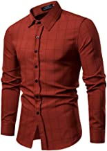 Mens Dress Shirts Slim Fit Long Sleeve Casual Button Fashion Plaid Muscle T-Shirt Tops Blouse Pullover Jumper Sweatshirt