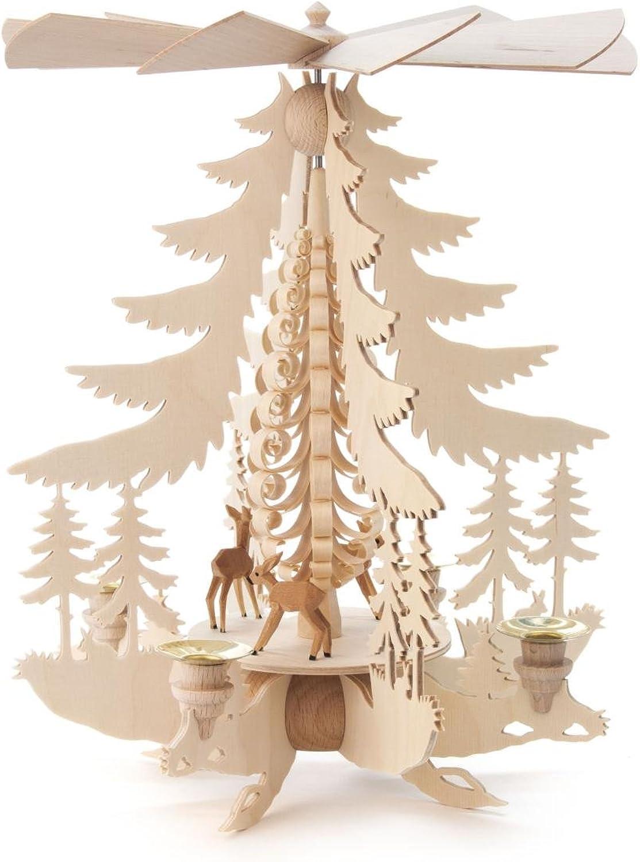 DREGENO Seiffen Seiffen Seiffen Pyramide mit Rehen für Kerzen, Holz, Natur 27 x 27 x 33 cm B00BK6IEPQ 0f00f0