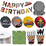 NOL 70Pcs Race Car Party Supplies Racing Birthday Party Tableware Kit Racing Car Plates ,Paper Cups Plates Napkins Banner Knife, Fork, Spoon Tablecloth Serves 8 Guests