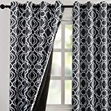 Reepow Full Blackout Thermal Insulated Curtains 63 inch Length, Moroccan Fashion Blackout Grommet Window Curtains for Bedroom Living Room 2 Panels, 52' x 63', Grey