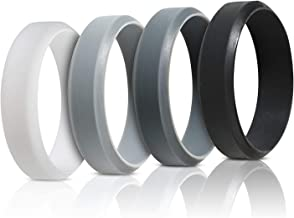 Saco Band Silicone Rings for Men - 7 Pack / 4 Pack Beveled Rubber Wedding Bands