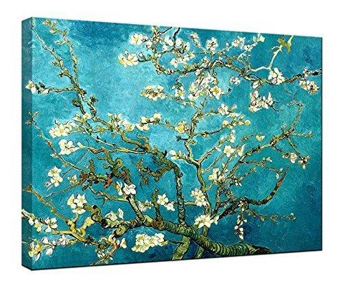 Wieco Art Giclée Impresión de Lienzo de Van Gogh pinturas al óleo de almendro en flor moderna lienzo para decoración de la pared y decoración para el hogar, 48x36inch