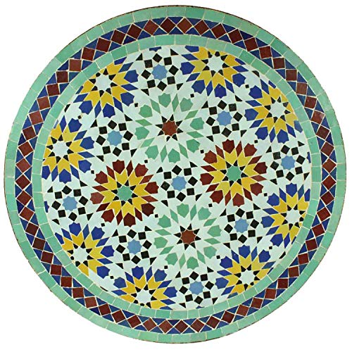Casa Moro Mediterranean Garden Table, Mosaic Table, Ankabut, Turquoise, Colourful, 70 cm Round, with Frame Height 73 cm | Handicraft from Marrakesch | Balcony Table, Moroccan Side Table | MT3089