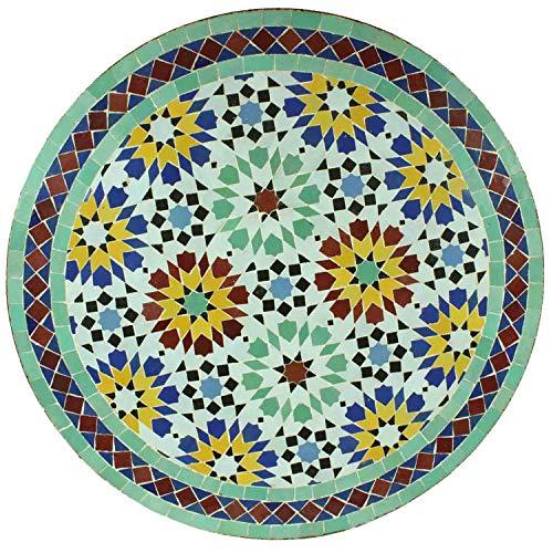 Casa Moro Mesa de jardín mediterránea, diseño de mosaico, Ankabut, turquesa, multicolor, 70 cm, redonda, con estructura altura de 73 cm, artesanía de Marrakesch, mesa auxiliar marroquí | MT3089