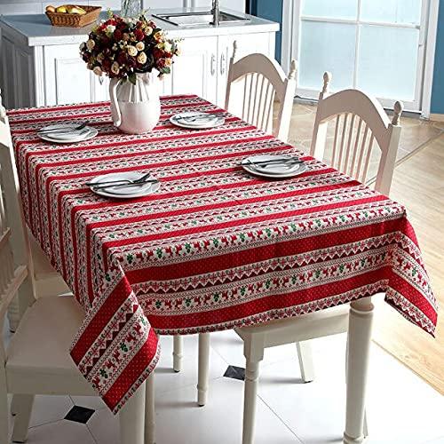 Mantel de Lino de Estilo étnico Imitación de algodón Puro Árbol de Navidad Rojo Patrón de Alces Mantel Lavable de Boda 140x240cm Estilo C