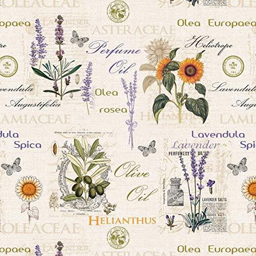 KEVKUS Wachstuch Tischdecke Meterware geprägt P732-1 P732-1 Olive Lavendel Sonnenblume Größe wählbar in eckig rund oval (Paspel (Kunststoffband), 140 x 300 cm eckig)
