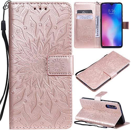 DodoBuy LG K61 Hülle Sonnenblume Muster Flip PU Leder Schutzhülle Handy Tasche Hülle Cover Stand mit Kartenfach für LG K61 - Rosegold