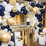 ZSQQSCL Decoraciones Fiesta Cumpleaños,Azul Marino Noche Globo Set (109 Pcs), La Cadena Globo Azul Tinta, Cinta De Oro, Globos Multicolores para Niños, Adulto,Cumpleaños Decoración Baby Shower