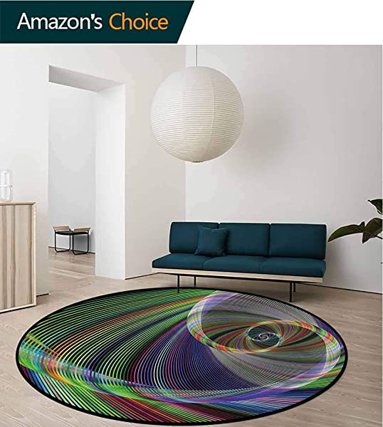 RUGSMAT Fractal Round Area Rug Carpet Dynamic Spiral Motion Super Soft Living Room Bedroom Home Shaggy Carpet Diameter 47