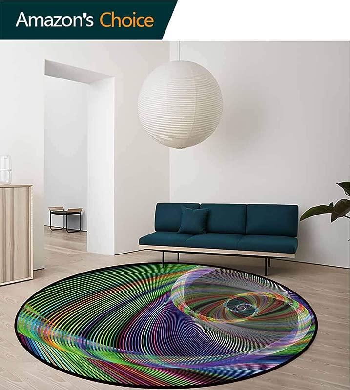 RUGSMAT Fractal Round Area Rug Carpet Dynamic Spiral Motion Super Soft Living Room Bedroom Home Shaggy Carpet Diameter 47