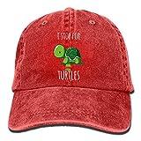 Taijian I Stop for Turtles Adult Denim Dad Solid Baseball Cap Hat Red