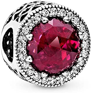 Radiant Hearts Charm, Sterling Silver, Cerise Crystal, Clear Cubic Zirconia, One Size