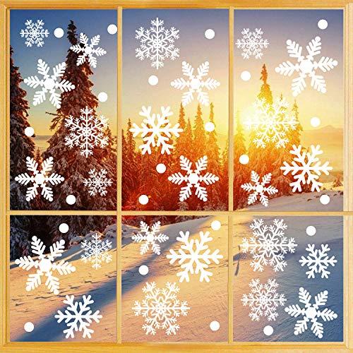 Weihnachtsdeko Fenster, 366 Schneeflocken Weihnachten Fensterbilder, Fenstersticker Fensteraufkleber PVC Fensterdeko Selbstklebend, für Türen Schaufenster Vitrinen Glasfronten Deko