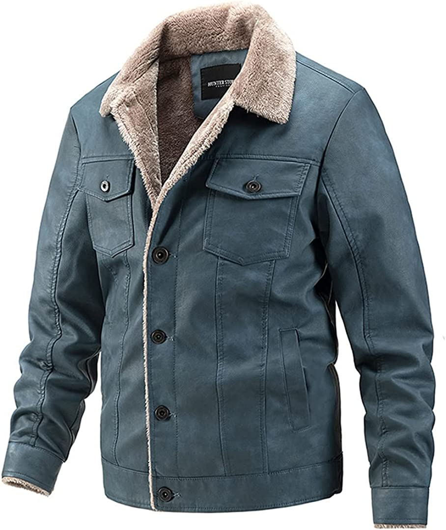 2021 New Fleece Leather Jacket Men Casual Fashion Slim Warm PU Motorcycle Jacket Men Winter Lapel Single-Breasted Jacket