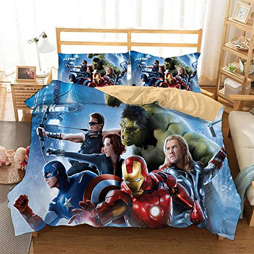Bcvvsovs Bedding Set 3D Movie characters Design Multicolor Duvet/Quilt Cover and Pillowcases Double 200 x 200 cm Bedding Sets Zipper Closure Easy Care 3-piece bedding set for boys