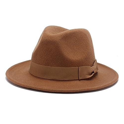 514fb507c2f 100% Wool Fedora Hats for Women Vintage Wide Brim Mens Fedora Cap
