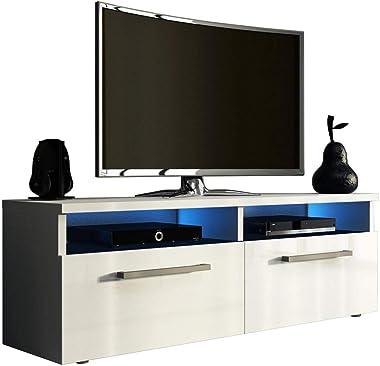 PEGANE Meuble TV Design Coloris Blanc Mat/Blanc Brillant + LED Bleu - L.100 x P.46 x H.35 cm
