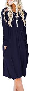 Women's Casual Long Sleeve Knee Length Empire Waist Dress with Pockets