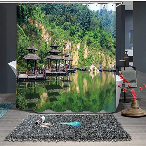 JZDH Shower Curtain for Bathroom Beautiful Gazebo By The Lake Pattern Shower Curtain, Digital Printing Waterproof Shower Curtain With 12 Hooks