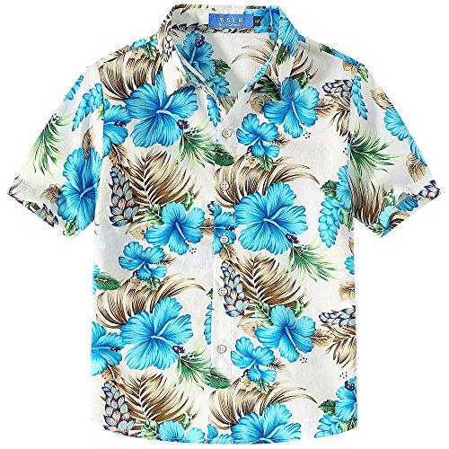 SSLR Jungen Hawaii Hemd Kurzarm Baumwolle 3D Gedruckt Hibiskus Button Down Freizeithemd Aloha Shirts (X-Small (5-6Jahren), Weiß)