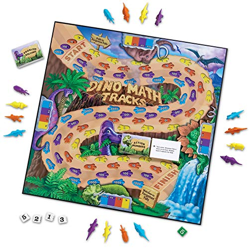 Learning Resources Dino Math Tracks Game, Place Value, Counting, Addition and Subtraction Dinosaur Game, Ages 6+