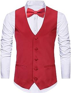 WANNEW 4pc Mens Tuxedo Vest Suit Vest Paisley Vest Set, with Bow Tie, Neck Tie & Pocket Hanky