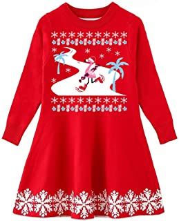 Little Girls Ugly Christmas Sweater Dress Xmas Long Sleeve Flared Knit Jumper Dresses 2-9 Years