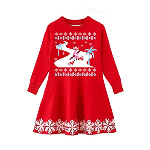 0a8acdcf4e26 Funnycokid Little Girls Christmas Dress Xmas Gifts Knitted Sweater Dresses  2-9T