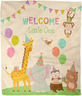 Golee Throw Blanket Birthday Cute Animals Cartoon for Baby Balloon Bear Bird Celebrate 50x60 Inches Warm Fuzzy Soft Blanket for Bed Sofa