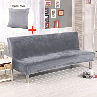 MIFXIN Armless Sofa Bed Cover Plush Thicker Solid Color Stretch Folding Sofa Couch Slipcover Non-Armrest Sofa Futon Protector with 1 Pcs Pillow Cover (Silver Grey)