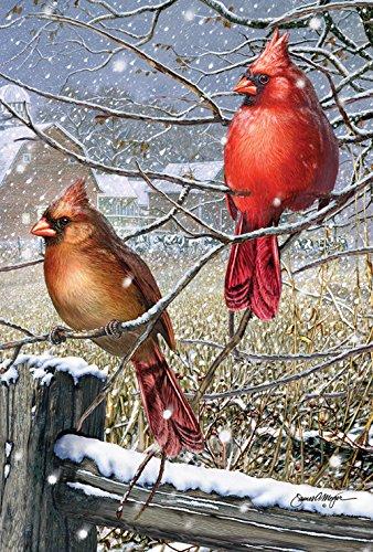 Toland Home Garden Blizzard Buddies 12.5 x 18 Inch Decorative Winter Cardinal Bird Garden Flag