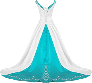 Women's V Neck Satin Embroidery Wedding Dress for Bride Chapel Train
