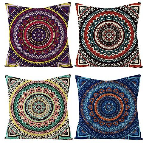 Daesar Funda Cojines 4 Pack,Funda Cojin Sin Relleno,Patrón de Mandala Fundas Cojines 45x45 Home Multicolor