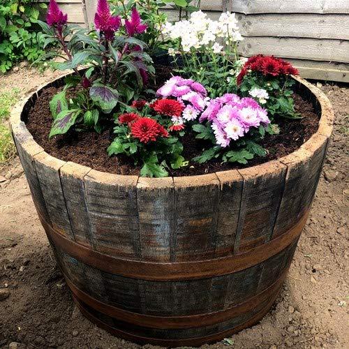 Round Wood Trading Scottish Oak Whisky Half Barrel Planter
