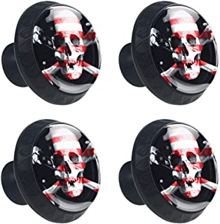 4 Pieces Drawer Knob Pull Handle American Flag Jolly Roger Crystal Glass Circle Shape Cabinet Drawer Pulls Cupboard Knobs with Screws for Home Office Cabinet Cupboard