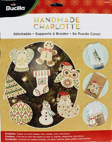 Bucilla Handmade Wood Stitchable Kit, 3 by 3-Inch, Shapes (Set of 8)