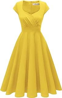 Women's Cocktail Dress Vintage 1950s Retro Cap Sleeve A-Line Rockabilly Swing Dress