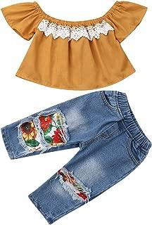 Toddler Baby Girls Jeans Outfits Off Shoulder Tube Top+Hole Denim Pants Set Kids Summer Clothes
