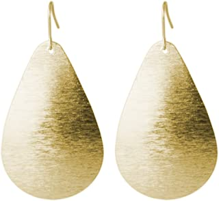 Brushed Gold or Silver Light Weight Teardrop Earring | SPUNKYsoul Collection